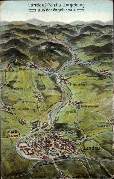 Landkarten Ak Felle, Eugen, Landau in der Pfalz, Vogelschau