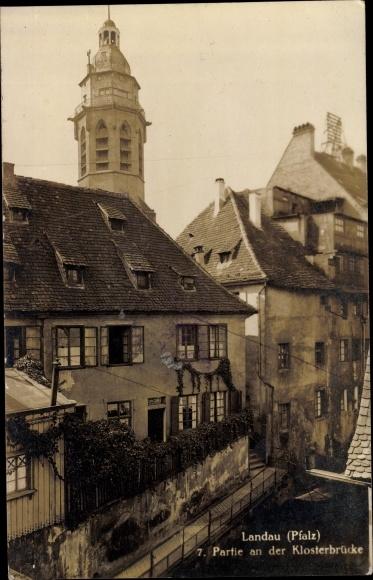 Ak Landau in der Pfalz, Partie an der Klosterbrücke