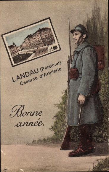Passepartout Ak Landau in der Pfalz, Caserne d'Artillerie, Bonne Année
