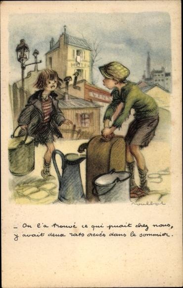 Künstler Ak Poulbot, Francisque, On l'a trouvé ce qui puait chez nous