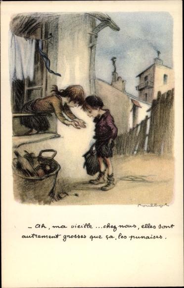 Künstler Ak Poulbot, Francisque, Ah, ma vieille, chez nous, elles sont autrement grosses que ca