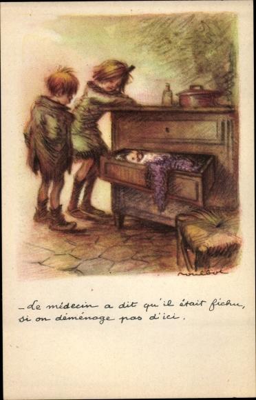 Künstler Ak Poulbot, Francisque Le médecin a dit qu'il était fichu