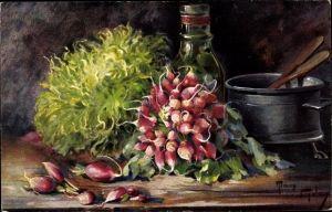 Künstler Ak Golay, Mary, Radieschen, Salat, Bottich