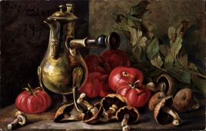 Künstler Ak Golay, Mary, Knoblauch, Tomaten, Pilze, Kanne