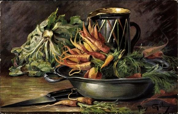 Künstler Ak Golay, Mary, Möhren, Salat, Bottich, Krug