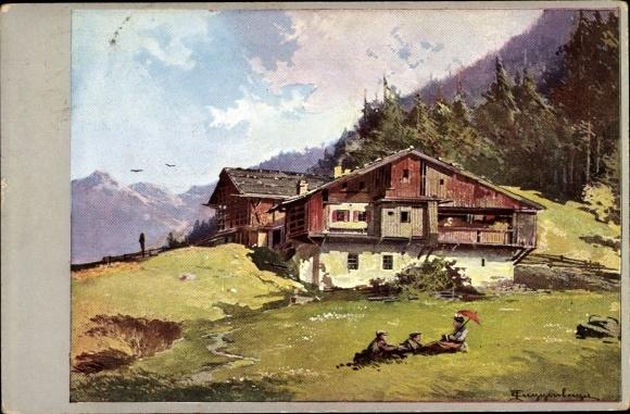 Künstler Ak Guggenberger, Thomas, Berghaus, Picknick, Panorama