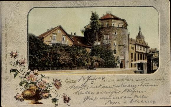 Passepartout Ak Goslar in Niedersachsen, Zum Achtermann, Blumenvase