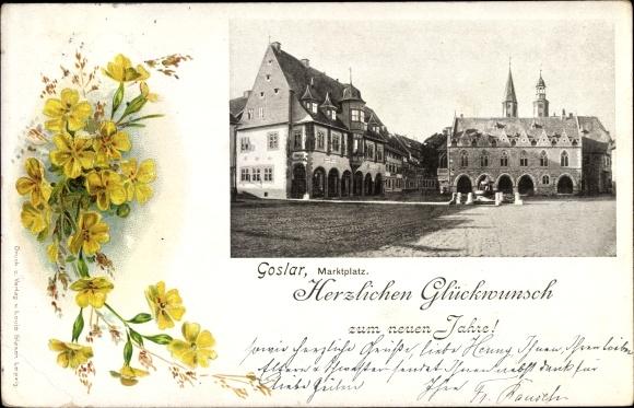 Passepartout Ak Goslar in Niedersachsen, Glückwunsch Neujahr, Marktplatz, Blumen