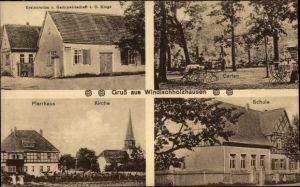 Ak Windischholzhausen Erfurt in Thüringen, Gasthaus, Pfarrhaus, Kirche, Schule
