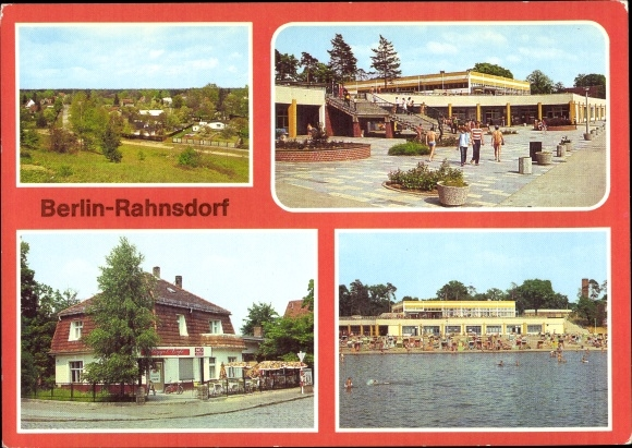 Ak Berlin Köpenick Rahnsdorf, Strandbad, Müggelcafé, Teilansicht