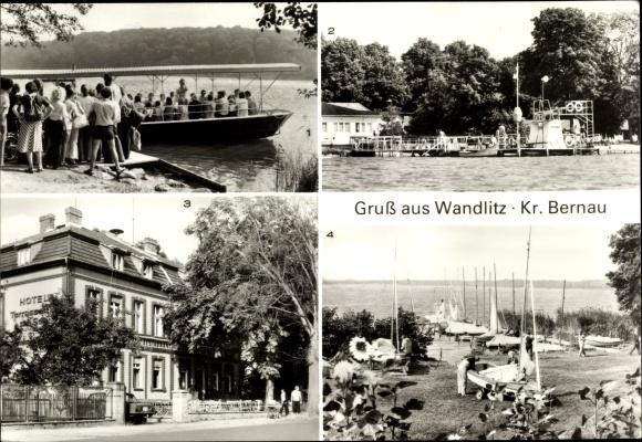 Ak Wandlitz in Brandenburg, Terrasse am See, Seglerhafen, Strandbad, Anlegestelle
