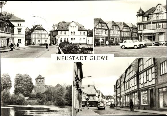 Ak Neustadt Glewe Mecklenburg Vorpommern, Bahnhofstraße, Marktplatz, Burg