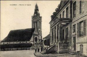 Ak Viarmes Val d'Oise, Mairie et Eglise, Rathaus, Kirche