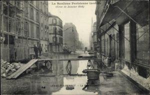 Ak Levallois Perret Hauts de Seine, La Rue Raspail, Janvier 1910