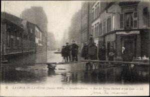 Ak Levallois Perret Hauts de Seine, Rue des Freres Herbert et Rue Gide, Janvier 1910