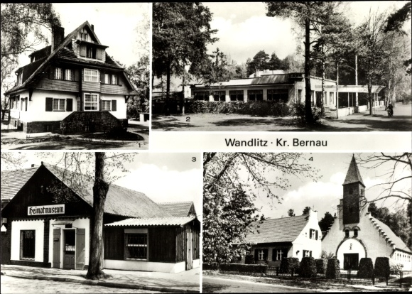 Ak Wandlitz im Kreis Barnim, Kinderwochenheim Thälmannstraße, Cafe am See, Heimatmuseum, Kirche