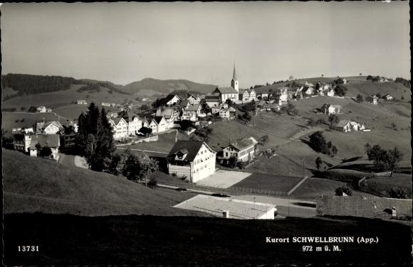 Ak Schwellbrunn Kt. Appenzell Ausserrhoden Schweiz, Panorama vom Ort