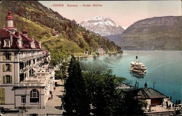 Ak Gersau Kt. Schwyz Schweiz, Hotel Müller, Blick auf den See, Dampfer
