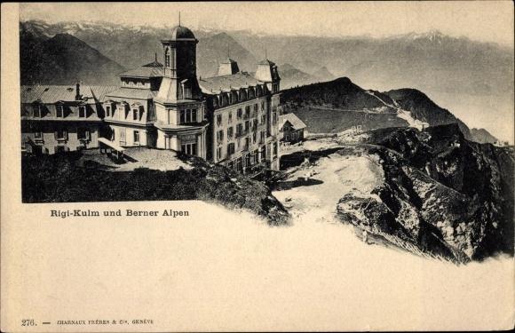 Ak Küssnacht Kt. Schwyz Schweiz, Rigi Kulm und Berner Alpen