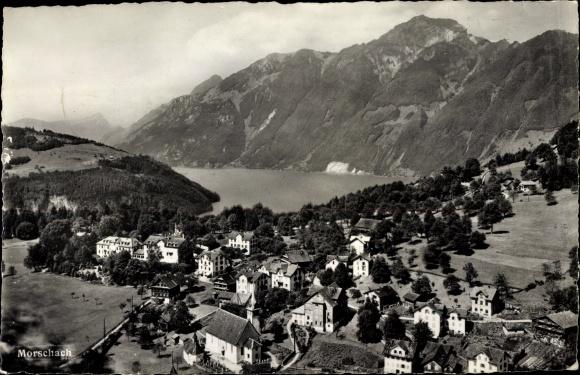 Ak Morschach Kt. Schwyz Schweiz, Panorama vom Ort