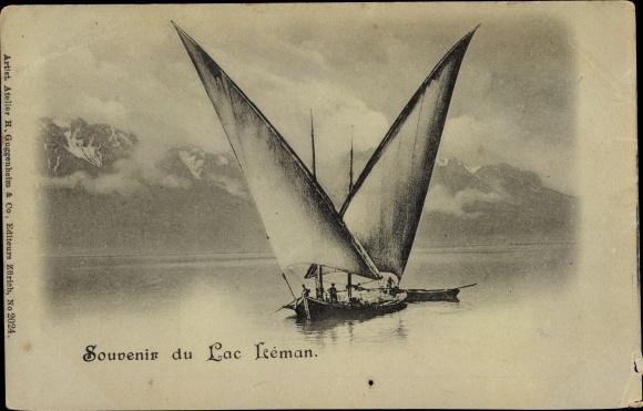 Ak Lac Leman Genfer See Kanton Genf, Segelboote