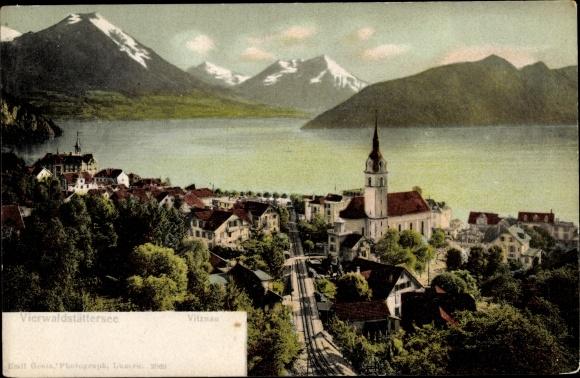 Ak Vitznau Kt. Luzern Schweiz, Panorama vom Ort und Vierwaldstättersee, Bahnstrecke
