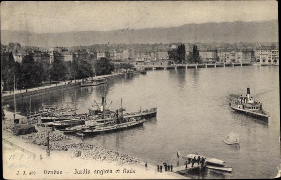 Ak Genève Genf Stadt, Jardin anglais et Rade, bateaux