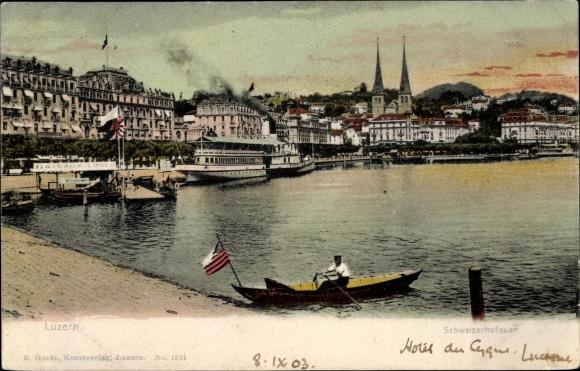 Ak Luzern Stadt Schweiz, Schweizerhofkai, Ruderboot, US Flagge
