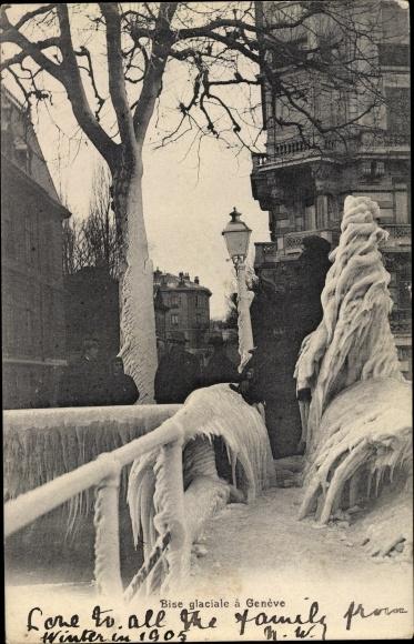 Ak Genève Genf Stadt, Bise glaciale, Eis und Schneelandschaft