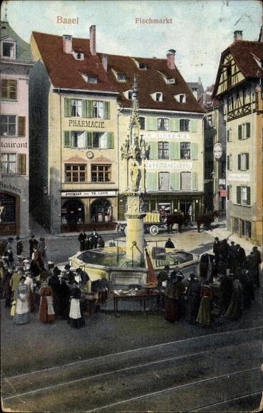 Ak Basel Schweiz, Fischmarkt, Brunnen, Apotheke