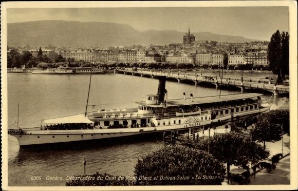 Ak Genève Genf Stadt, Débarcadère du Quai du Mont Blanc et Bateau Salon La Suisse