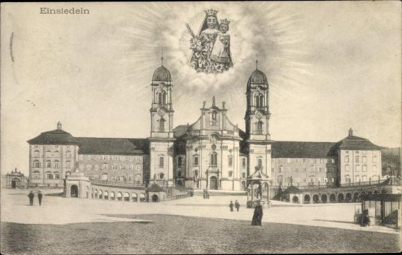 Ak Einsiedeln Kt. Schwyz Schweiz, Schloss, Gnadenbild