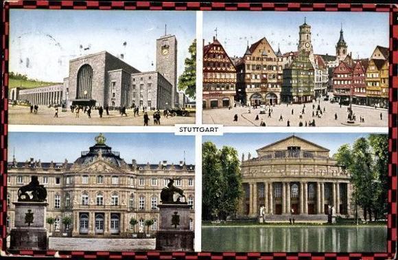 10 alte Ak Stuttgart Baden Württemberg, diverse Ansichten