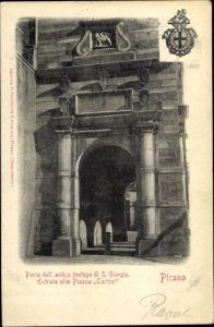 Ak Pirano Piran Slowenien, Porta dell' antica fontego di S. Giorgio, Entrata alla Piazza Tartini