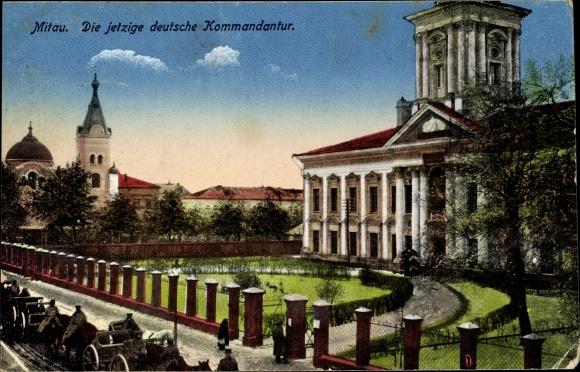 Ak Jelgava Mitau Lettland, Deutsche Kommandatur