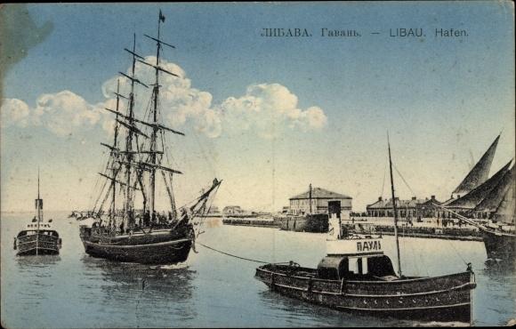 Ak Liepaja Libau Lettland, Segelschiff wird von einem Schlepper in den Hafen gezogen