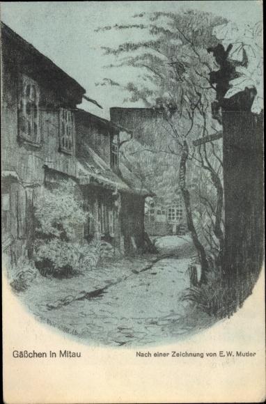 Künstler Ak Muder, E.W., Jelgava Mitau Lettland, Gässchen