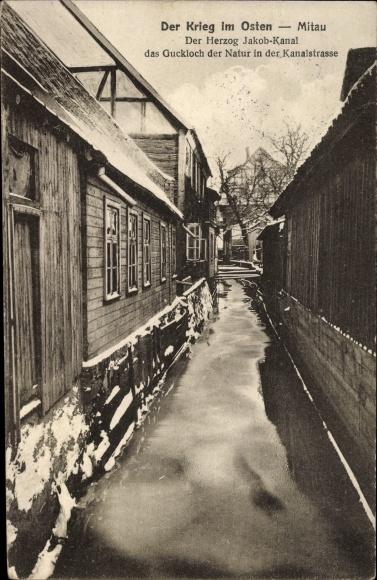 Ak Jelgava Mitau Lettland, Herzog Jakob Kanal, Gucklock der Natur in der Kanalstraße