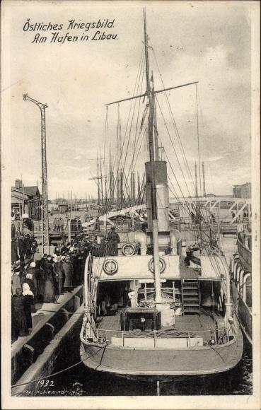 Ak Liepaja Libau Lettland, Dampfer, Hafenpartie