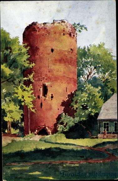 Künstler Ak Volfeila, E., Turaida Sigulda Segewold Lettland, Ruinen der Burg