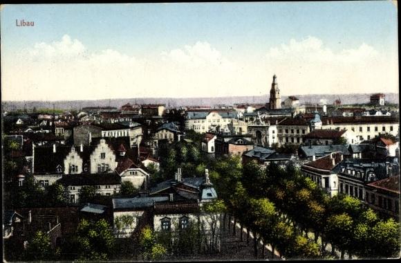 Ak Liepaja Libau Lettland, Blick über die Stadt
