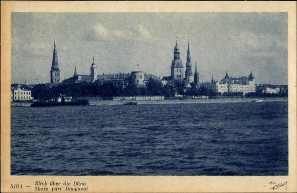 Ak Riga Lettland, Blick über die Düna zur Stadt