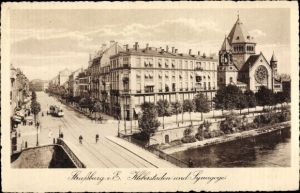Ak Strasbourg Straßburg Elsass Bas Rhin, Kleberstaden und Synagoge