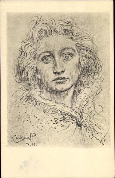 Künstler Ak Fidus, Zukunft, Portrait