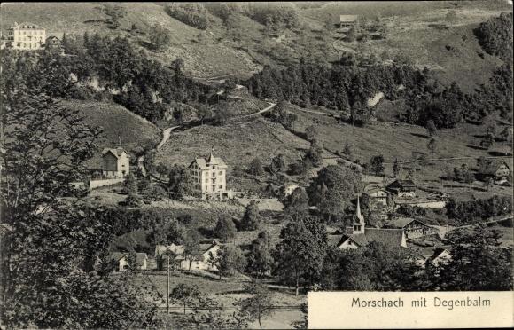 Ak Morschach Kt. Schwyz Schweiz, Panorama mit Degenbalm