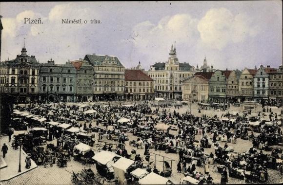 Ak Plzeň Pilsen Stadt, Namesti o trhu, Markt