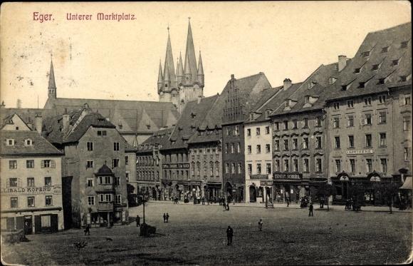 Ak Cheb Eger Reg. Karlsbad, Unterer Marktplatz