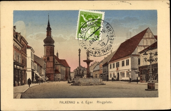 Ak Sokolov Falkenau an der Eger Reg. Karlsbad, Blick auf den Ringplatz