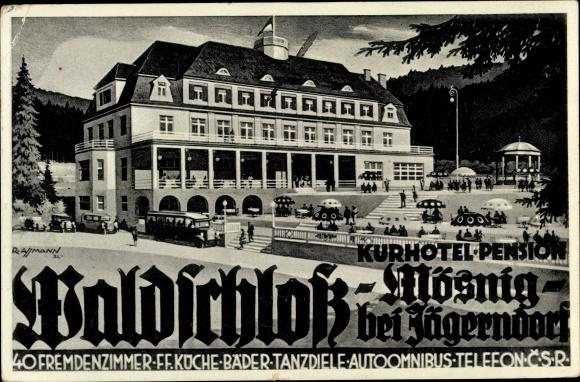 Ak Mösnig Krnov Jägerndorf Mährisch Schlesien, Kurhotel Waldschloss