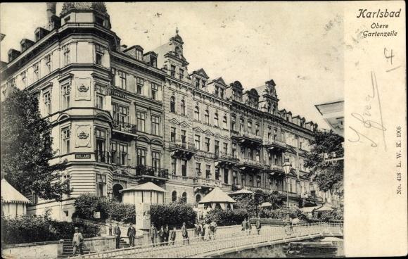 Ak Karlovy Vary Karlsbad Stadt, Obere Gartenzeile